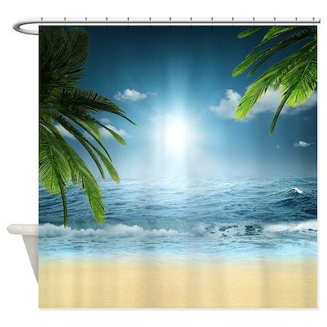 Tropical Beach Shower Curtain By Showercurtainshop