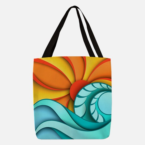 Sun and Sea Polyester Tote Bag