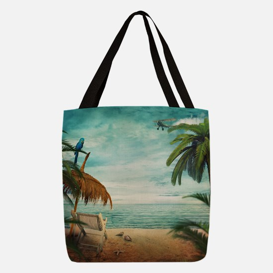 Vintage Beach Polyester Tote Bag