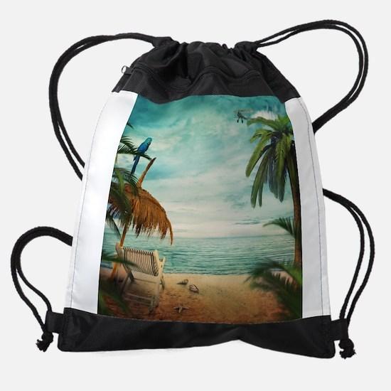 Vintage Beach Drawstring Bag