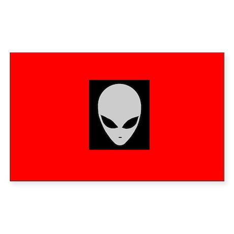 Rectangular Alien Sticker (Red & Black)