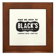text black,s barbecue Framed Tile