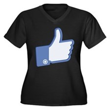 Thumbs Up Women's Plus Size V-Neck Dark T-Shirt