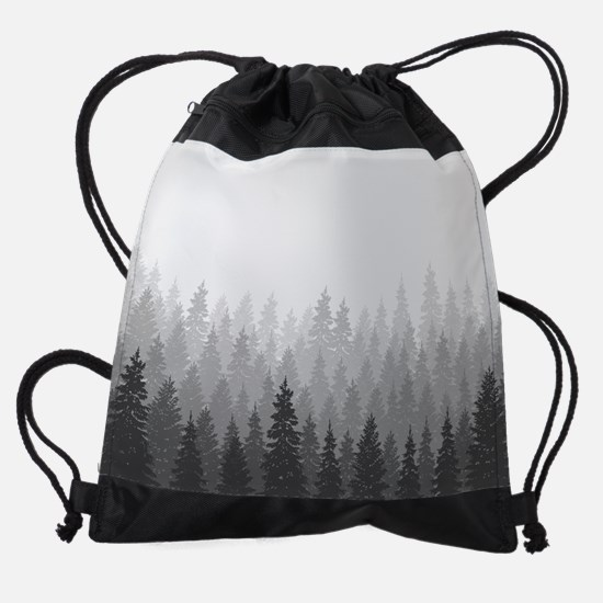 Gray Forest Drawstring Bag