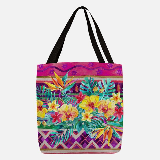 Tropical Watercolor Polyester Tote Bag