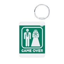 Game Over Marriage Aluminum Photo Keychain