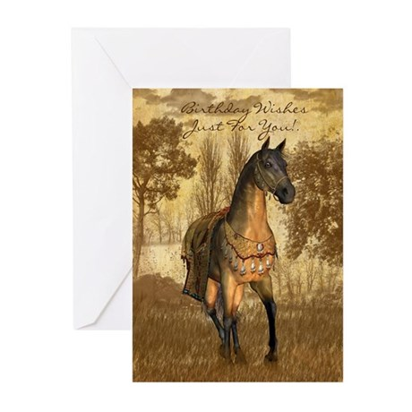 Equine Birthday Card With Brown Horse (Pk of 10)