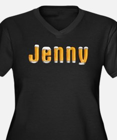 Jenny Beer Women's Plus Size V-Neck Dark T-Shirt