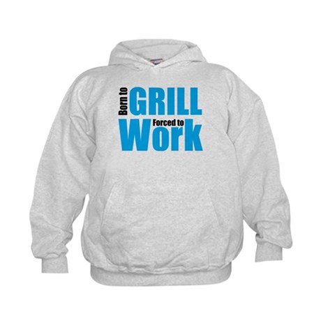 Born to grill forced to work Kids Hoodie