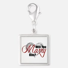 Will You Marry Him? Silver Square Charm