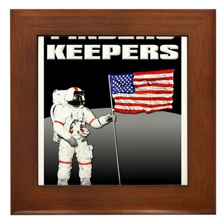 Finders Keepers Lunar Landing Funny T-Shirt Framed
