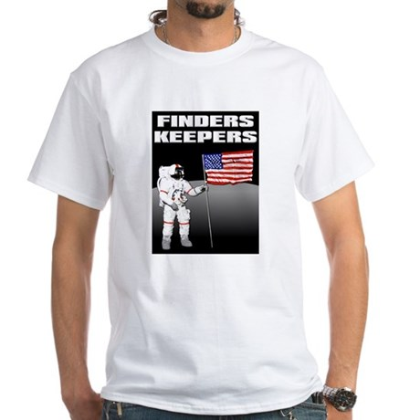 Finders Keepers Lunar Landing Funny T-Shirt White