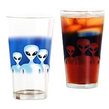 Cute Alien abduction Drinking Glass