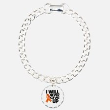Never Give Up Multiple Sclerosis Charm Bracelet, O