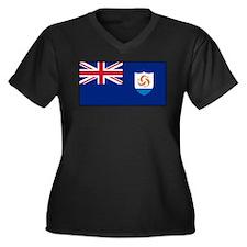 Anguilla - Anguillian Flag Women's Plus Size V-Nec