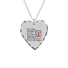 Multiple Sclerosis Support Necklace Heart Charm