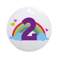 2nd Birthday Hearts and Rainbow Ornament (Round)