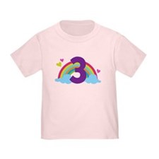 3rd Birthday Rainbow N Hearts T