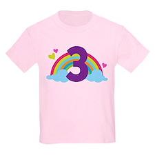 3rd Birthday Rainbow N Hearts T-Shirt
