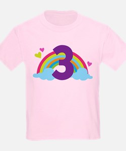3rd Birthday Rainbow N Hearts T-Shirt