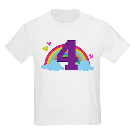 4th Birthday Heart Rainbow Kids Light T-Shirt