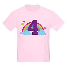 4th Birthday Heart Rainbow T-Shirt