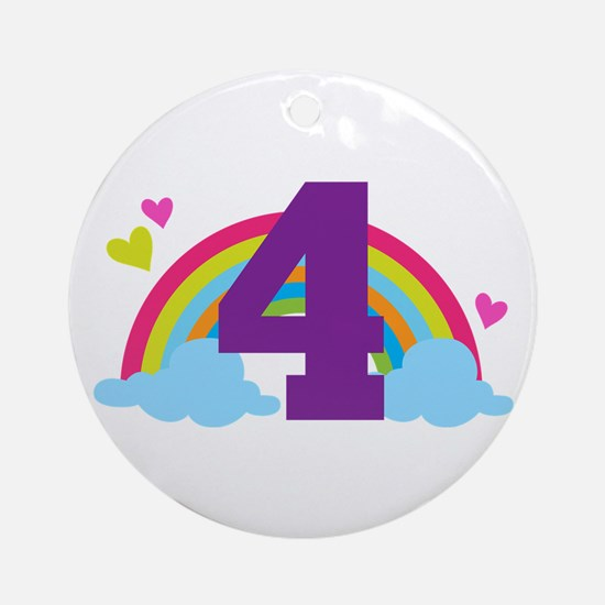 4th Birthday Heart Rainbow Ornament (Round)