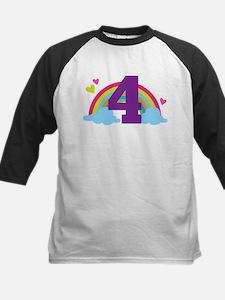4th Birthday Heart Rainbow Tee