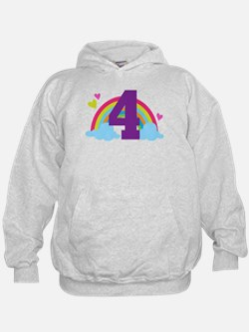 4th Birthday Heart Rainbow Hoodie