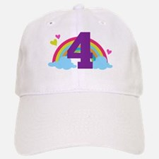4th Birthday Heart Rainbow Baseball Baseball Cap