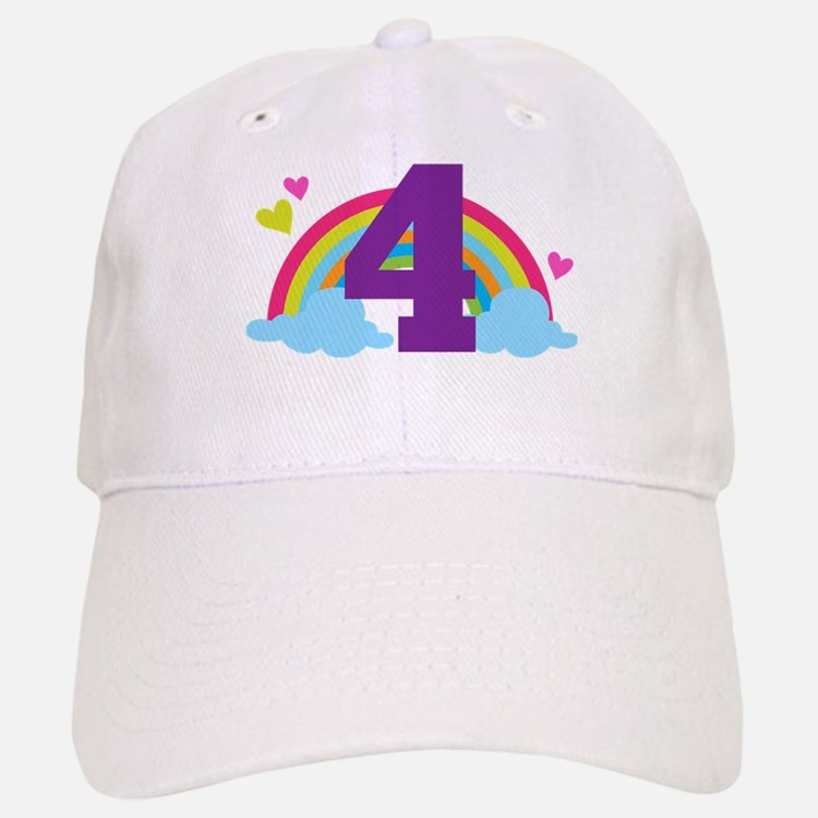 4th Birthday Heart Rainbow Baseball Baseball Cap
