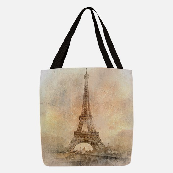 Vintage Paris Polyester Tote Bag