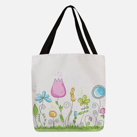 Spring Flowers Polyester Tote Bag