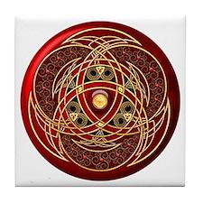 Celtic Medallion - Red Tile Coaster