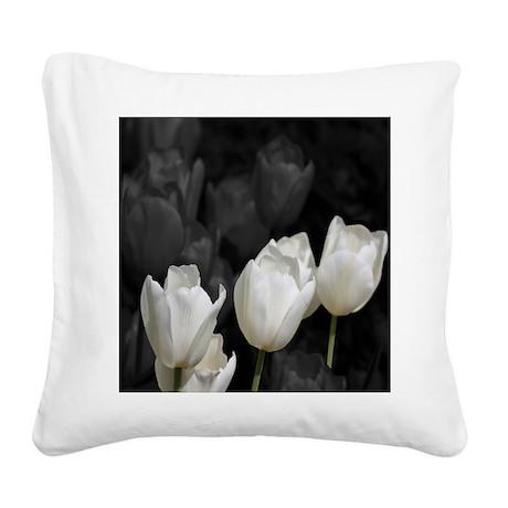 White Tulip Square Canvas Pillow