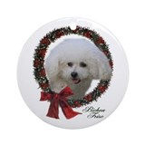 Christmas bichon Round Ornaments