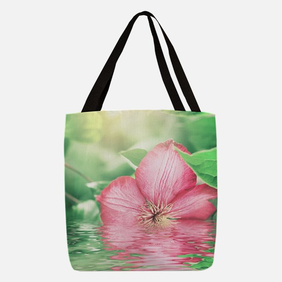 Water Flower Polyester Tote Bag