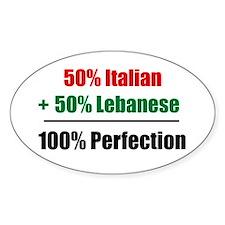 Half Italian, Half Lebanese Oval Decal