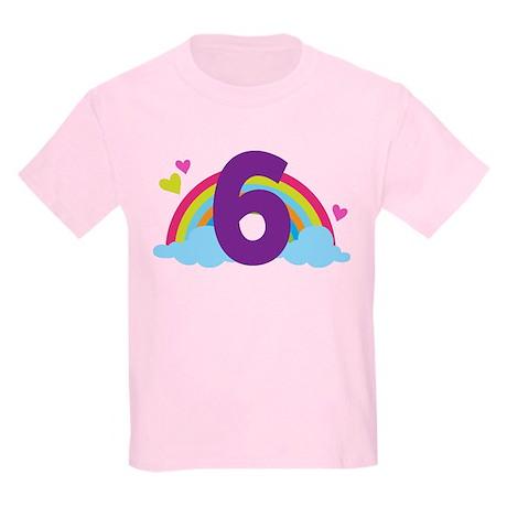 Rainbow 6th Birthday Kids Light T-Shirt