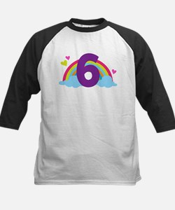 Rainbow 6th Birthday Kids Baseball Jersey