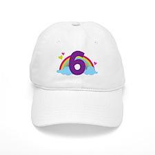 Rainbow 6th Birthday Baseball Cap