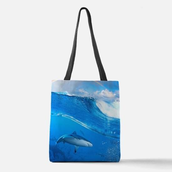 Underwater Shark Polyester Tote Bag