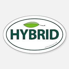 Hybrid Auto Bumper Oval Sticker -Green Leaf Sticke