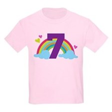 Heart Rainbow 7th Birthday T-Shirt