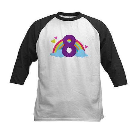 Heart Rainbow 8th Birthday Kids Baseball Jersey