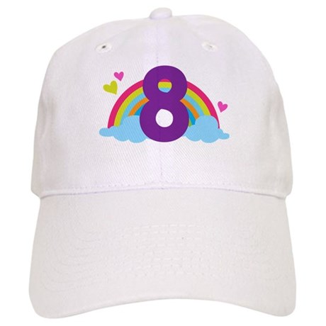 Heart Rainbow 8th Birthday Cap