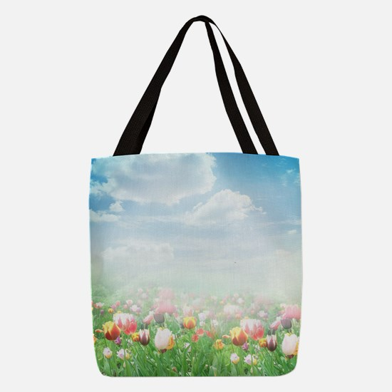 Spring Meadow Polyester Tote Bag