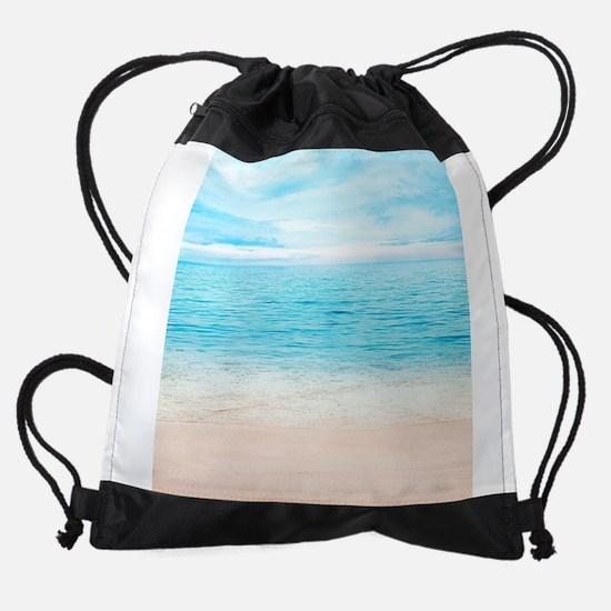 White Sand Beach Drawstring Bag