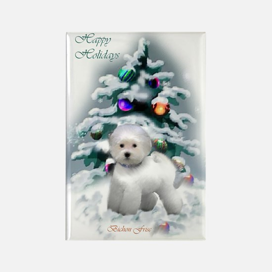 Bichon Frise Christmas Rectangle Magnet (10 pack)