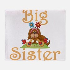 Big Sister Fluffy Pup 6 Throw Blanket